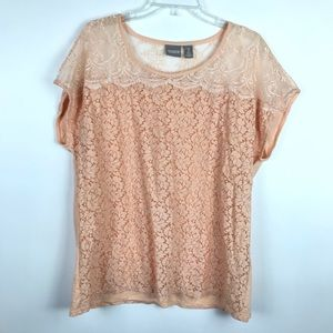 Chico's Pink Peach Lace Detail Short Sleeve Blouse